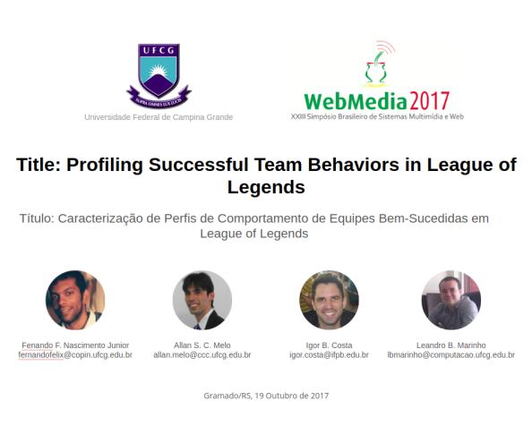 Profiling Successful Team Behaviors in League ofLegends